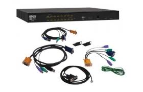 Tripp Lite NetDirector KVM Switch - Conmutador KVM - PS/2, USB - 16 puertos - 1U - externo - apilable en cascada